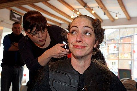 Kate having her head shaved by Rebecca Hill