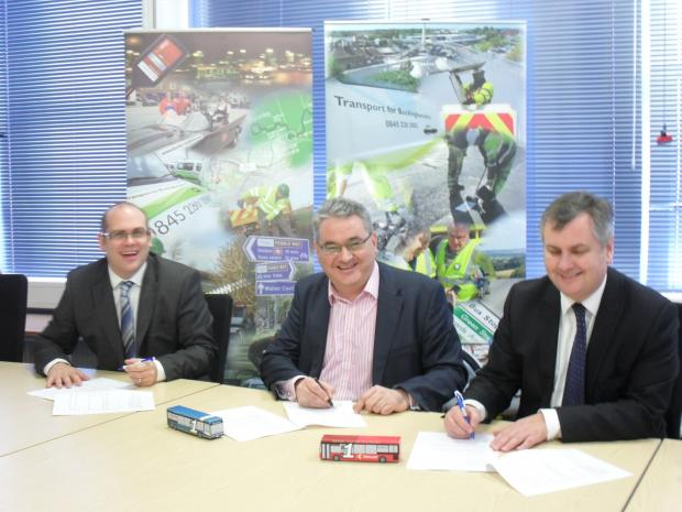 The contract for the new service is signed at County Hall