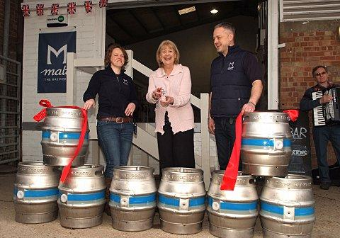Cheryl Gillan opens Malt the Brewery, watched by brewers Jenny and Nick Watson