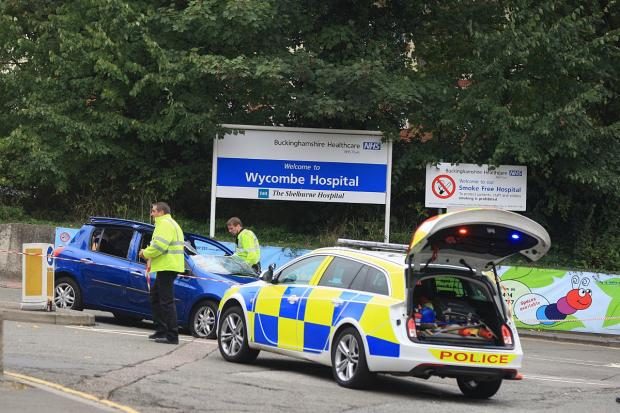Crash at the entrance to Wycombe Hospital