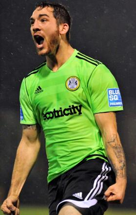 Reece Styche celebrates a goal for Forest Green Rovers