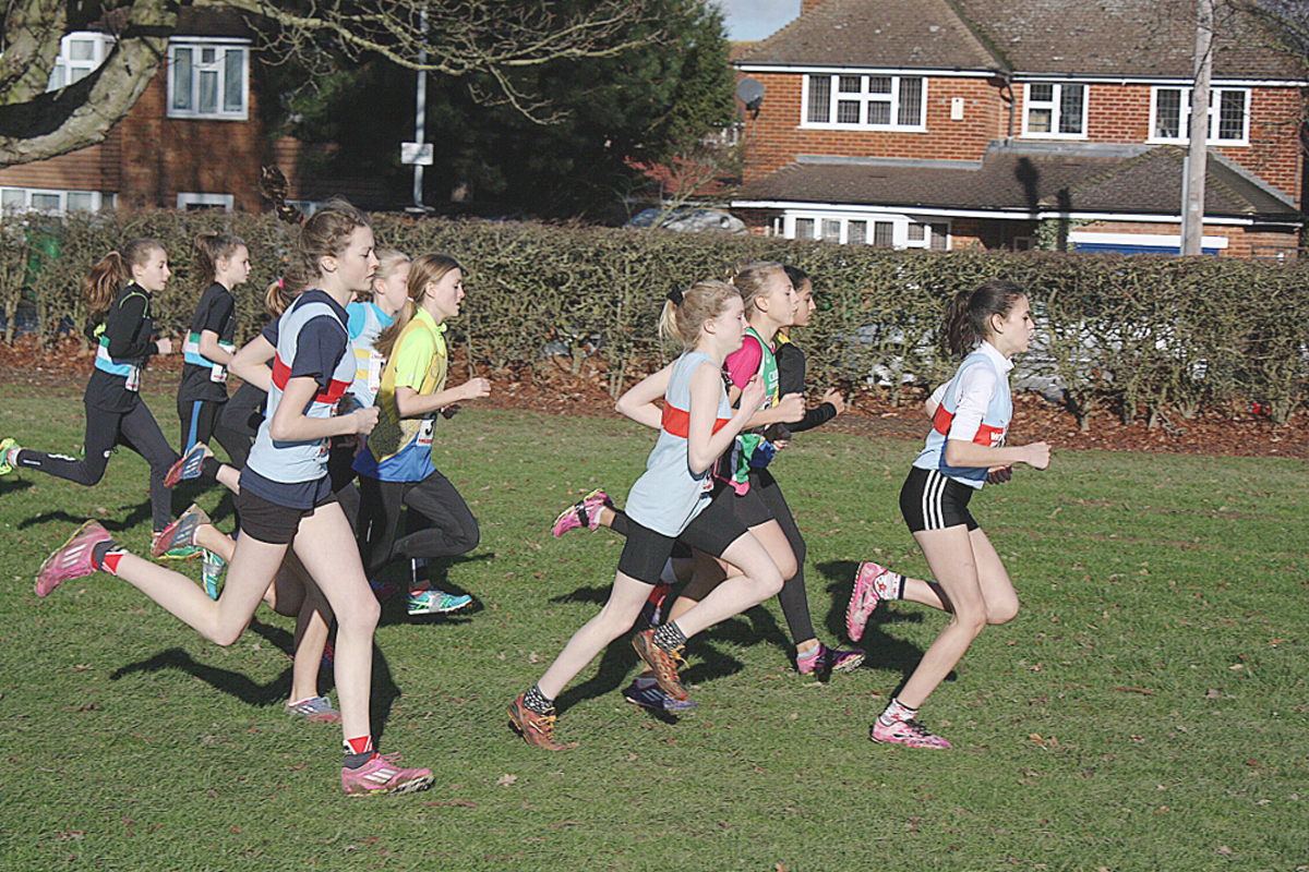 Kate Jones, Maisie Pennant and Cleo Pryor get going in the U13 girls race in Slough.