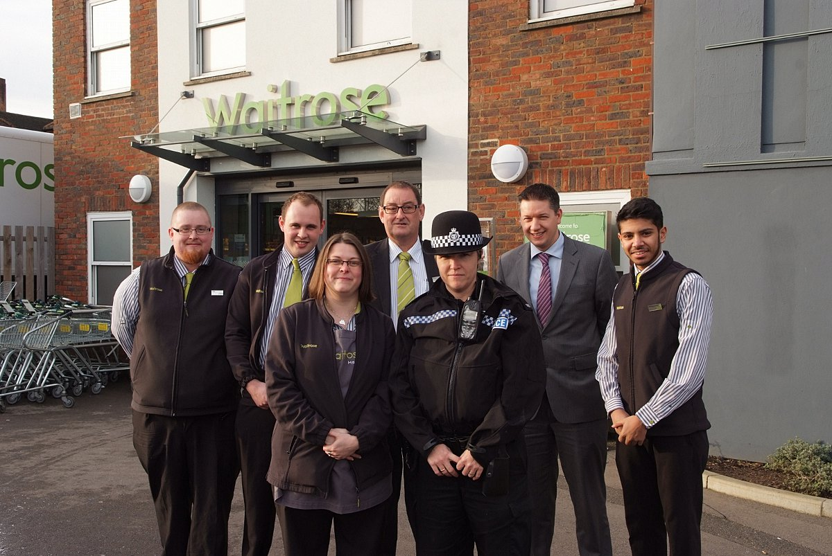 Waitrose shopwatch with Duty Manager Simon Mitchell (centre) and staff and PC Emma Taylor