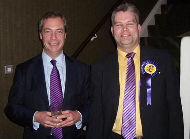 David Meacock with UKIP leader Nigel Farage