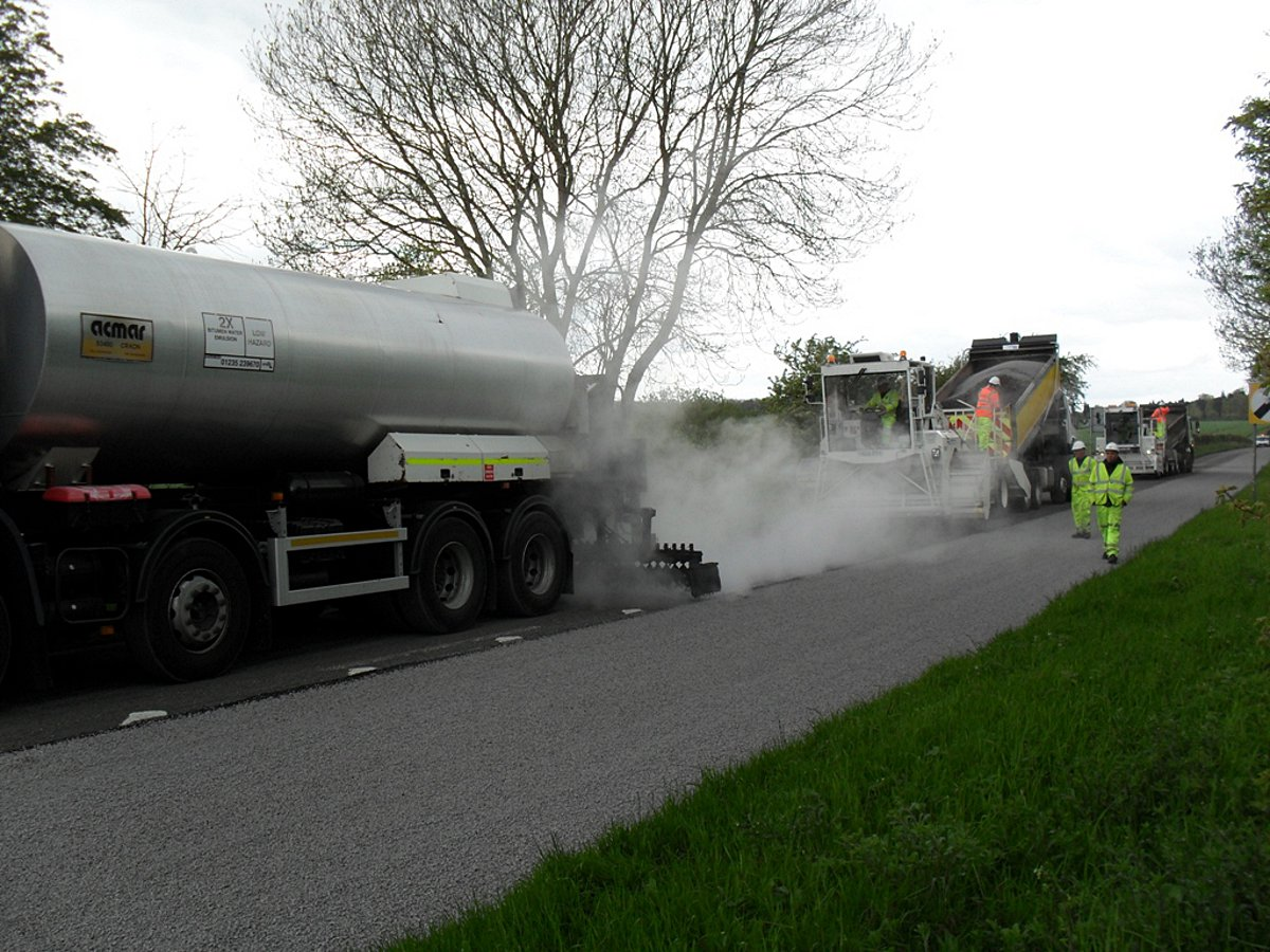 A road resurfacing crew at work in Bucks