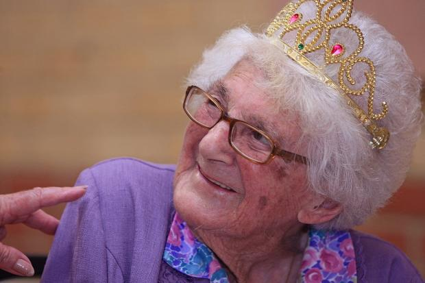 Connie Baker at her 105th birthday party last July
