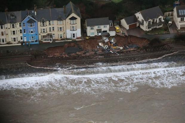 The main line to the West Country was washed into the sea at Dawlish