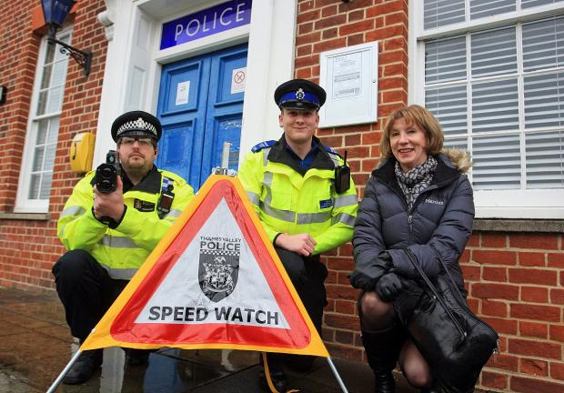 Cllr Jocelyn Towns with Marlow police officers
