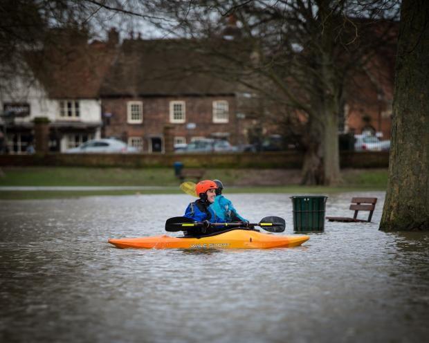 Bucks Free Press: Canoes have been used to get around Higginson Park in Marlow today. Picture by Daren Saunders of www.satori-photo.co.uk