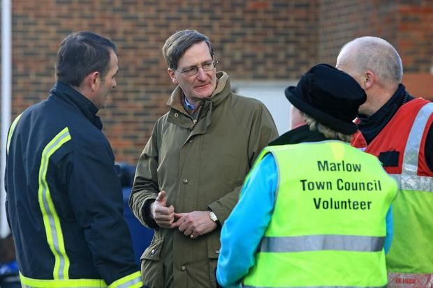 Dominic Grieve meets firefighters and volunteers helping with the flood relief effort