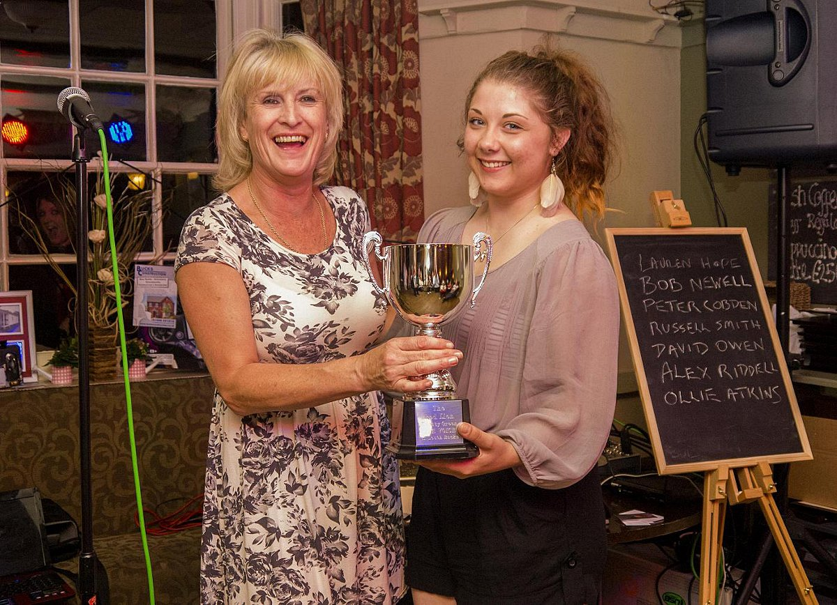Last years winner, Alex Riddell (right), receiving her trophy