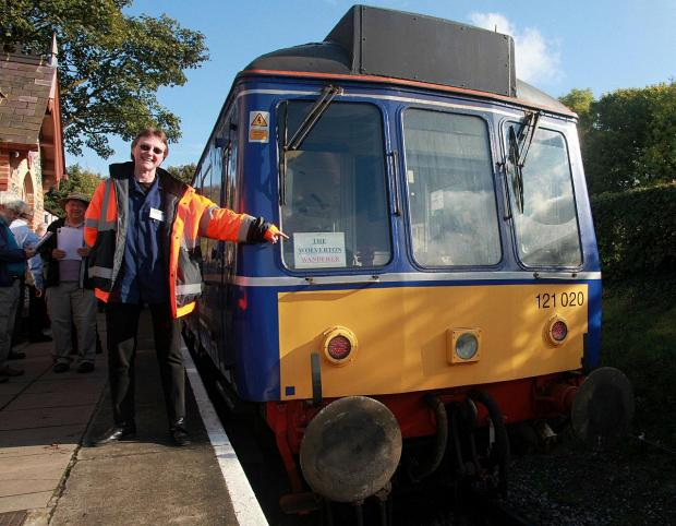 Bucks Free Press: Claire Conway-Crapp, from Network Rail, with one of the trains from Chinnor