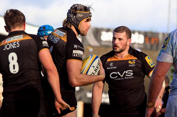Jake Cooper-Woolley (right) said Wasps' forwards need to front up at Bath