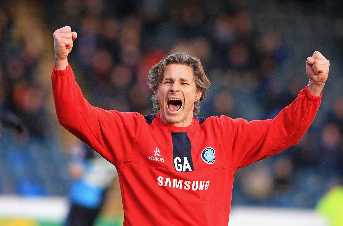 Gareth Ainsworth celebrates victory against Chesterfield in Wanderers' last home game
