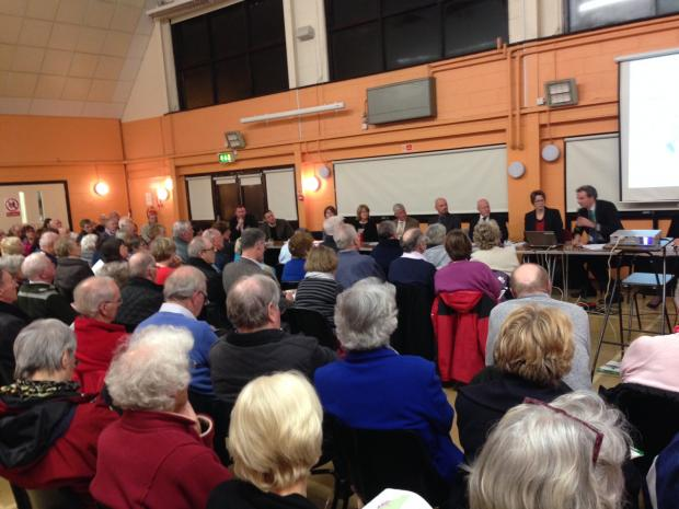 Hundreds turn out to discuss town's future