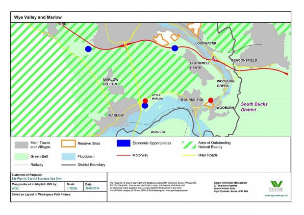 The diagram produced by WDC discussing possible sites for growth in Marlow and the Wye Valley