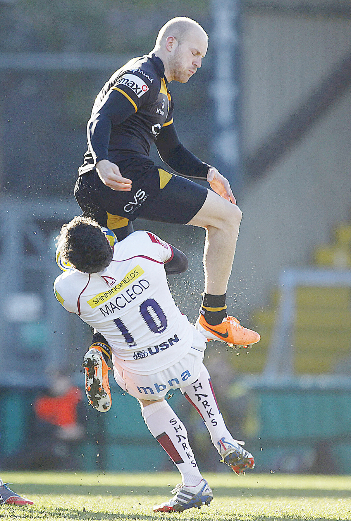 Joe Simpson was sin binned for this jump into Nick MacLeod