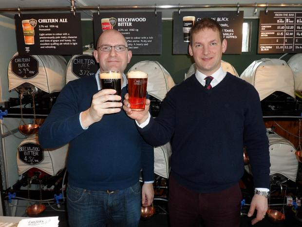 Mix96 Managing director Max Hailey and Tom Jenkinson, head brewer of The Chiltern Brewery