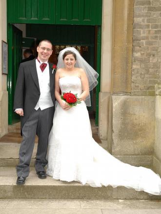Chris and Alison Clarke on their wedding day