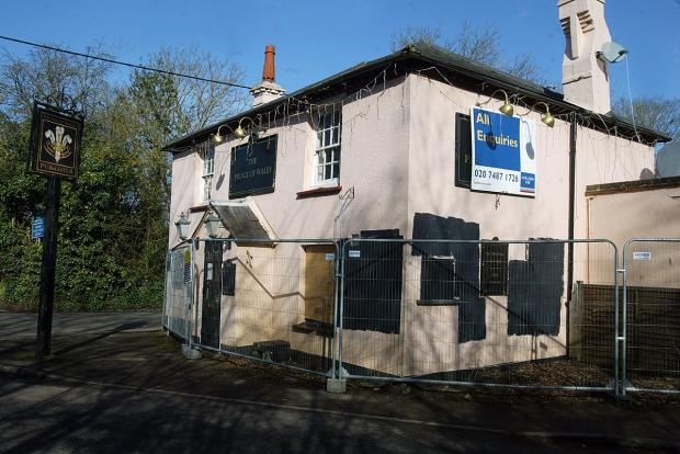 The derelict Prince of Wales pub in