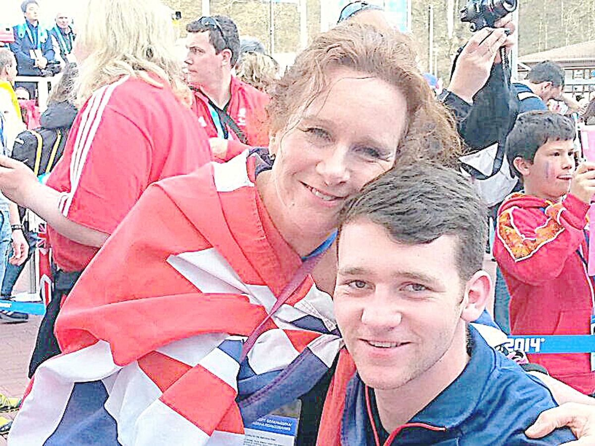 Ben Sneesby and his mum Janet in Sochi