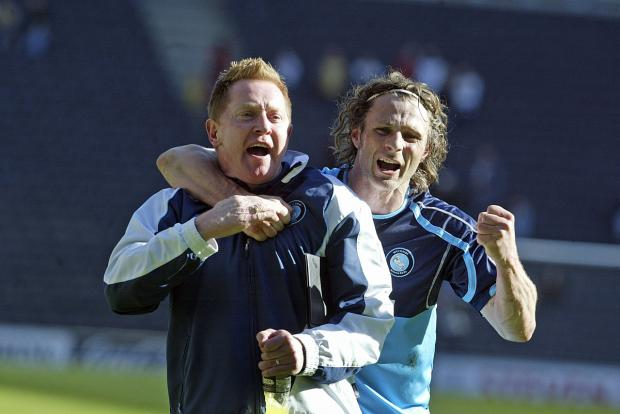 Gareth Ainsworth and Gary Waddock in happier times at Wycombe Wanderers