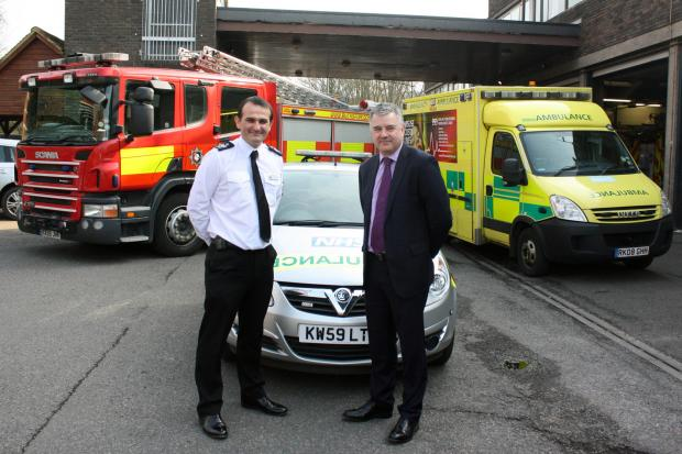 Bucks Free Press: Jason Thelwell, Buckinghamshire Fire & Rescue Service's Chief Operating Officer, and Steve West, South Central Ambulance Service's Operations Director, are pictured at the official launch of the co-responder scheme at High Wycombe Fire Station on Friday