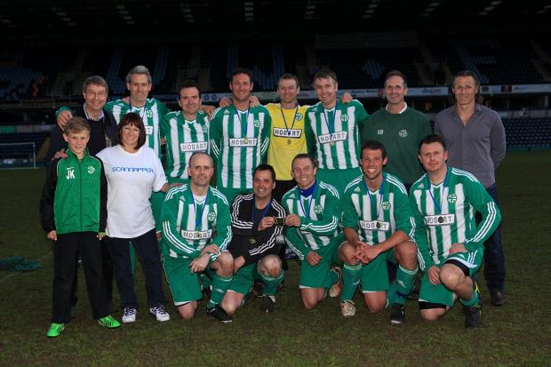 Last year's winners Holmer Green FC with Wycombe Wanderers manager Gareth Ainsworth