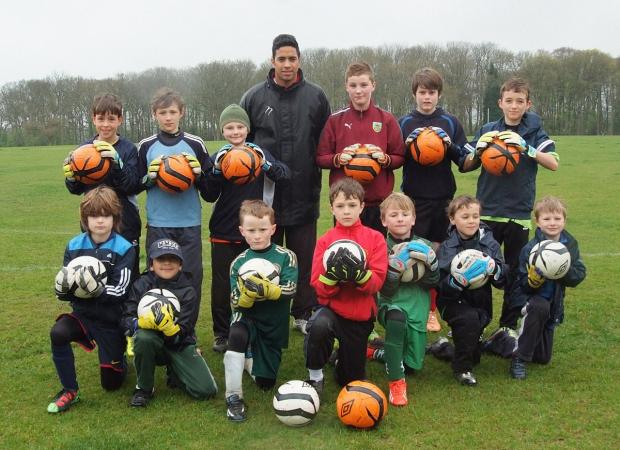 Youngsters from the Aaron West Goalkeeping Academy with coach Mikhael Jaimez-Ruiz