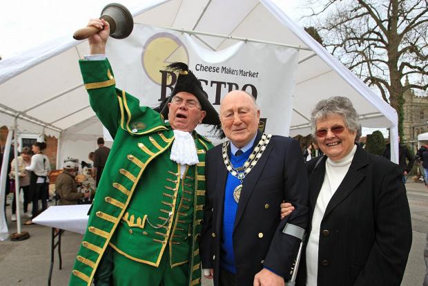 (From left) Town Cryer Dick Smith, Mayor Sandy Saunders and his wife Rosemary
