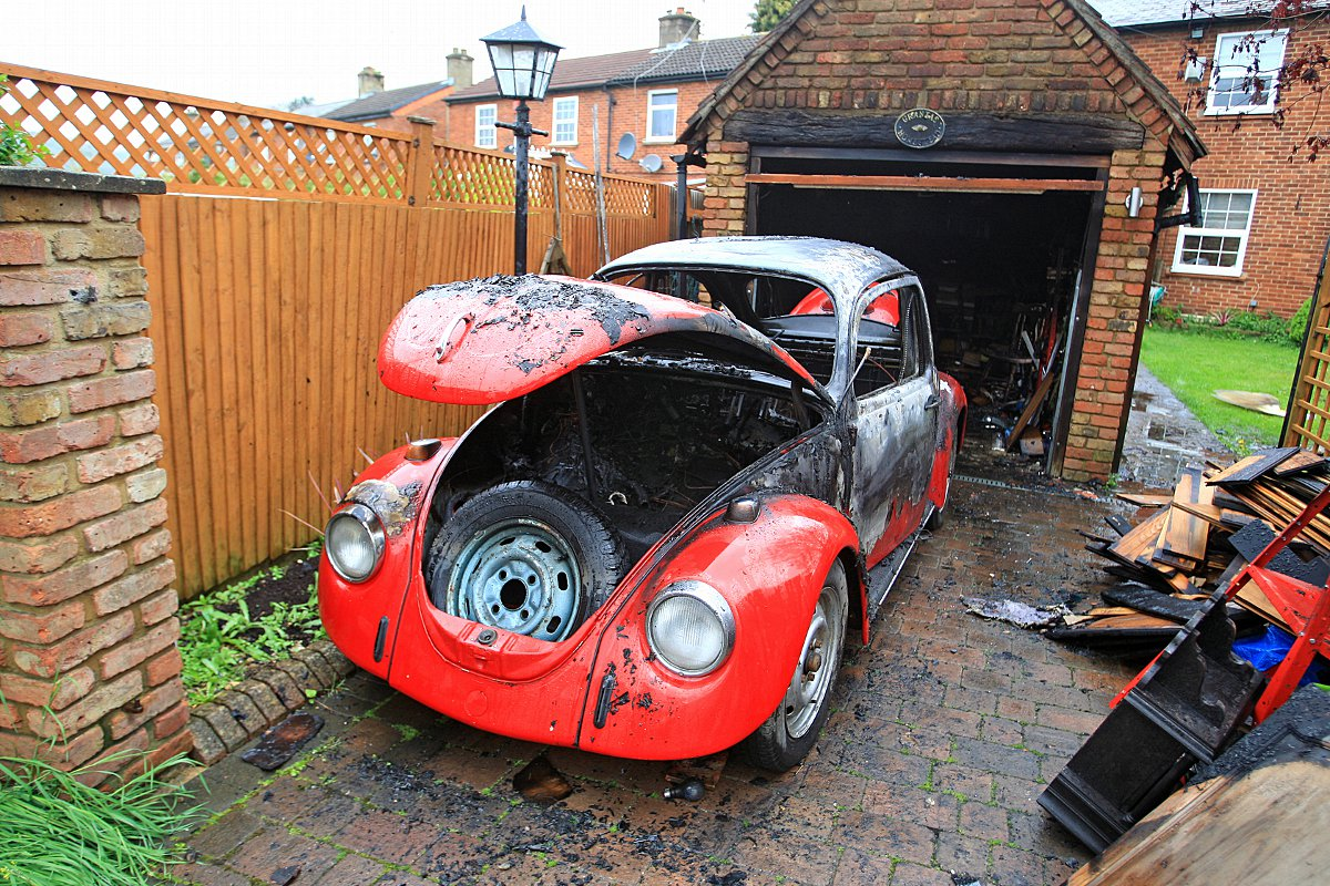 44-year-old car destroyed in blaze