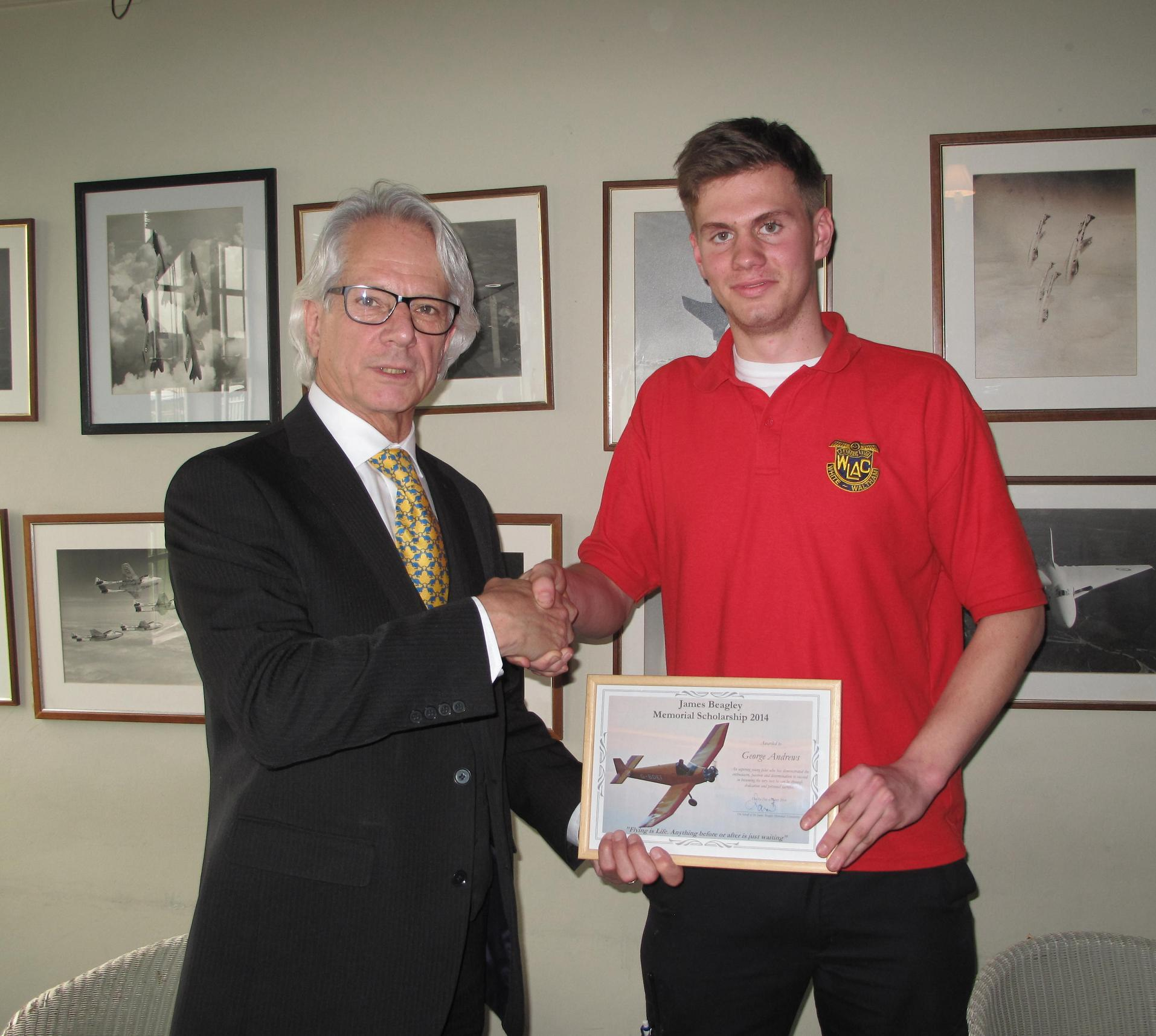 Alan Beagley with George Andrews, the newest recipient of the James Beagley Memorial Scholarship
