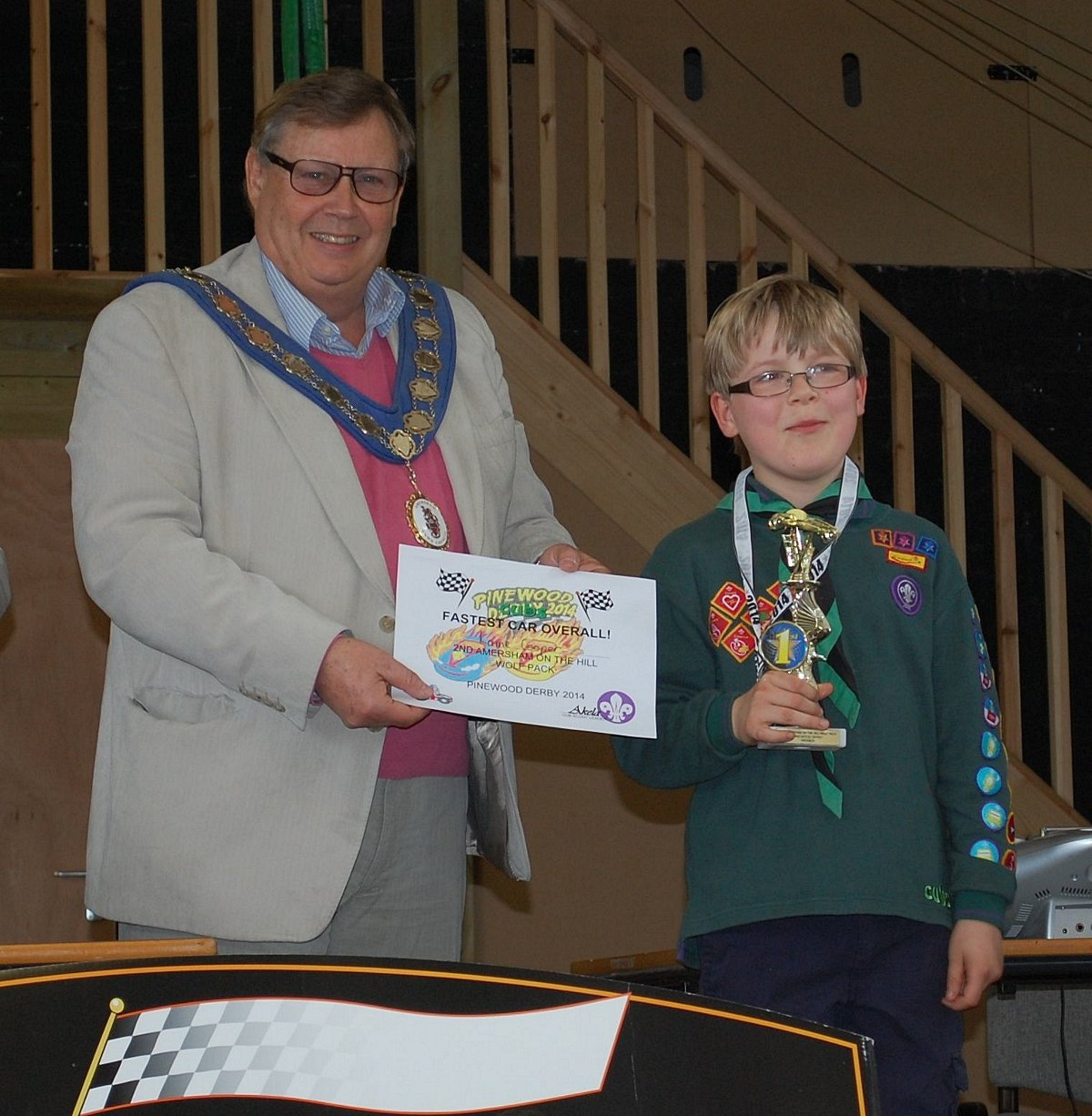 Winner Kaine Cooper with Amersham Mayor Nigel Shepherd
