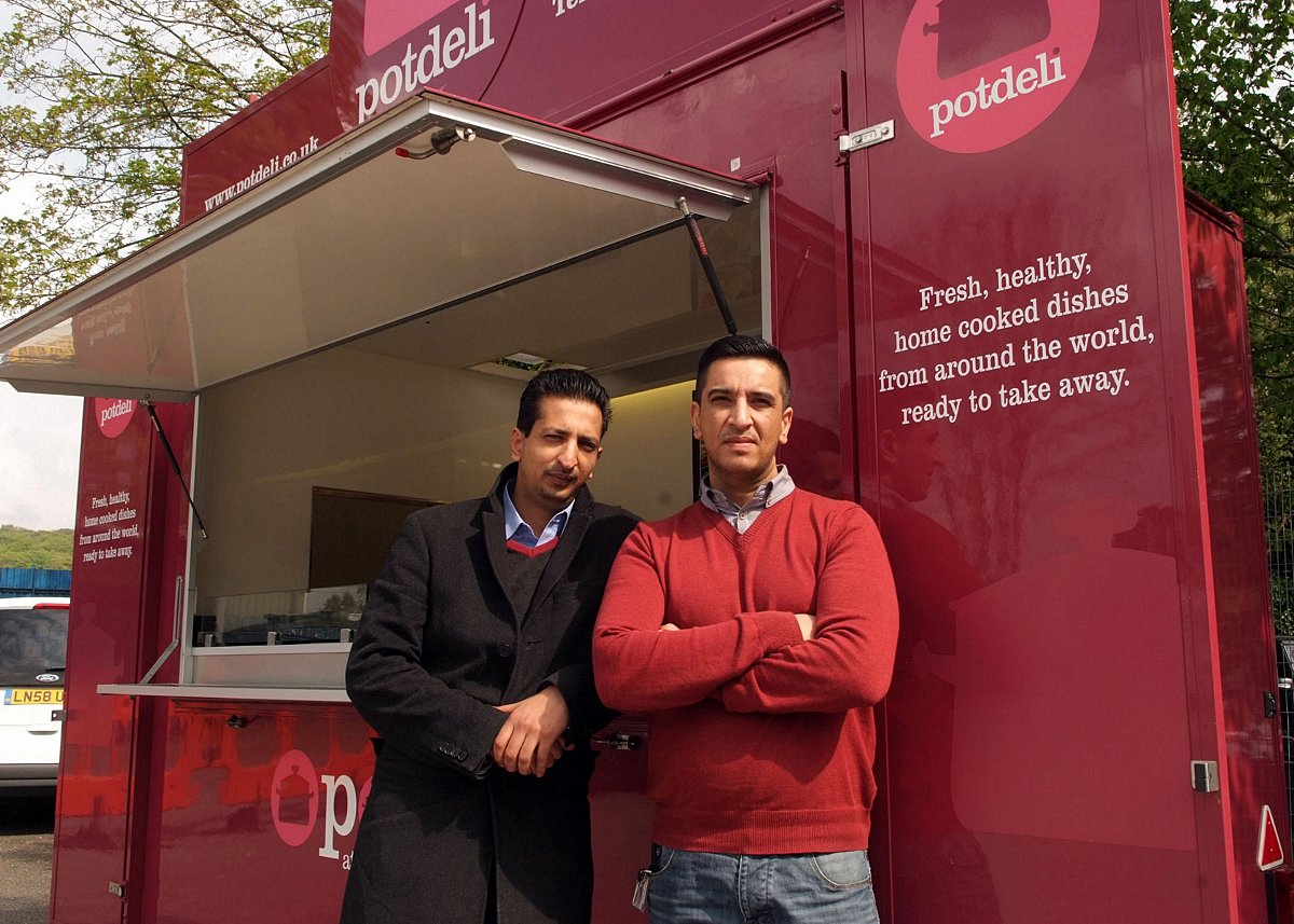 Amir Mirza (right) next to the Pot Deli van at Great Missenden station