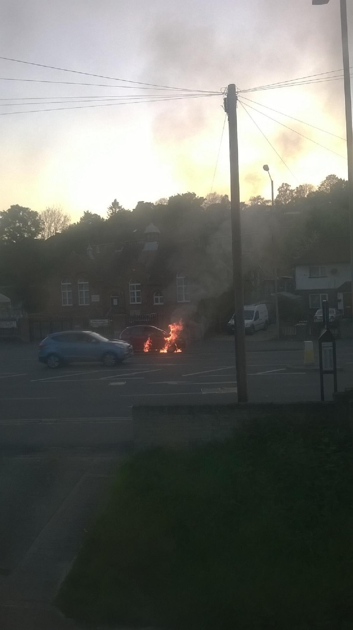 Flames engulf car in High Wycombe