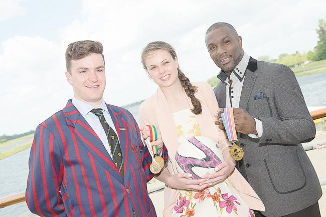 Rufus Biggs and Tash Pavelin with Derek Redmond