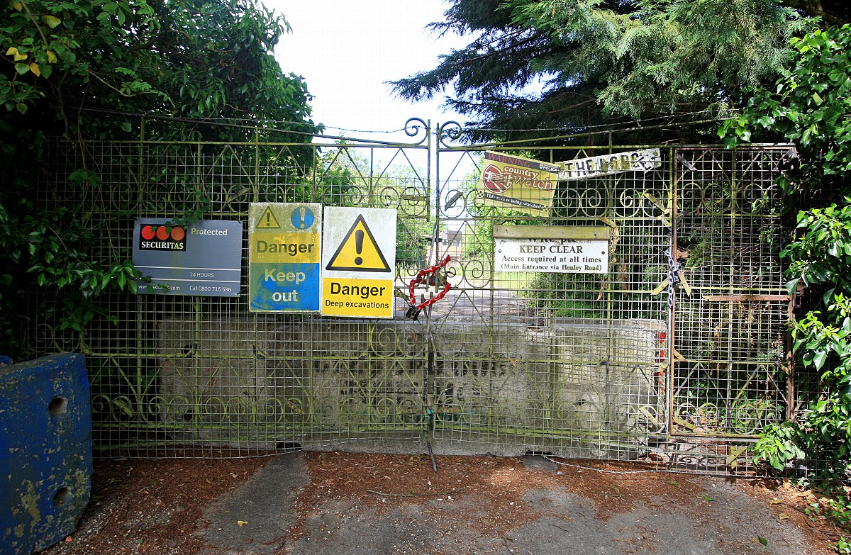 The entrance to the derelict site