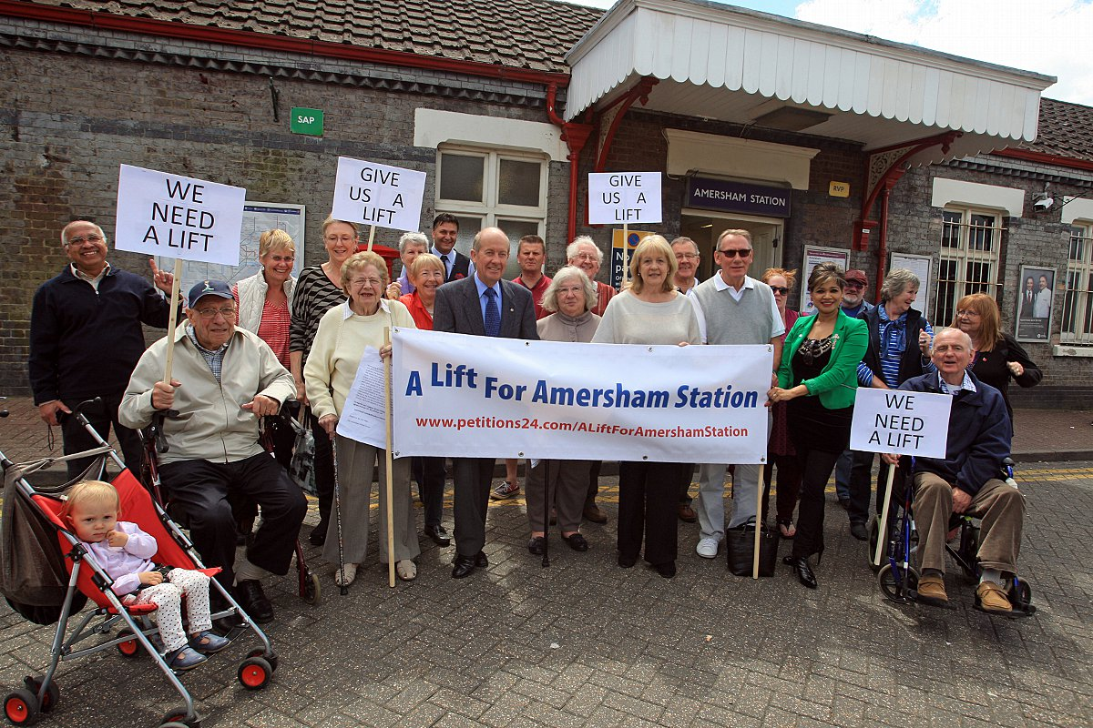 Campaigners gather at Amersham Station on