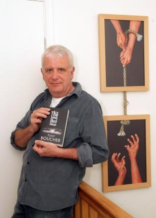Tony with his new novel and some of his artwork