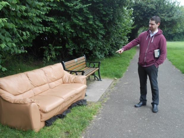 Restaurant worker Philip Pettit, who regularly uses the park to relax, was shocked to see a sofa appear in the park