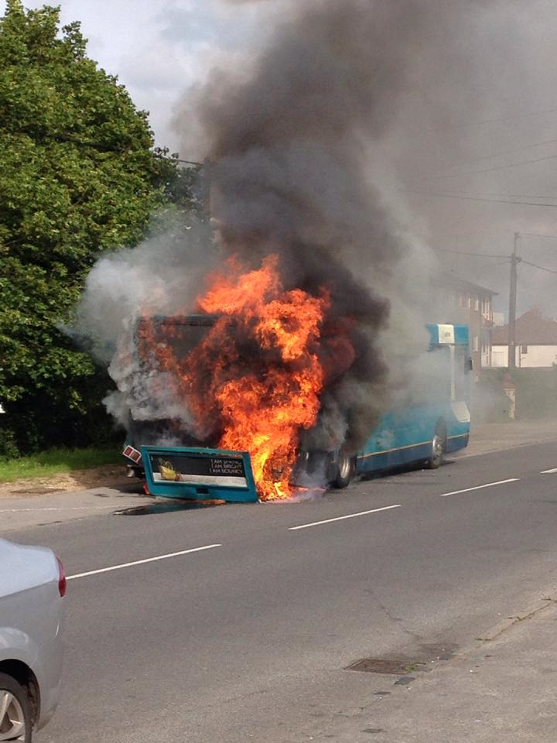 Updated with pics: Firefighters tackle Stokenchurch bus blaze