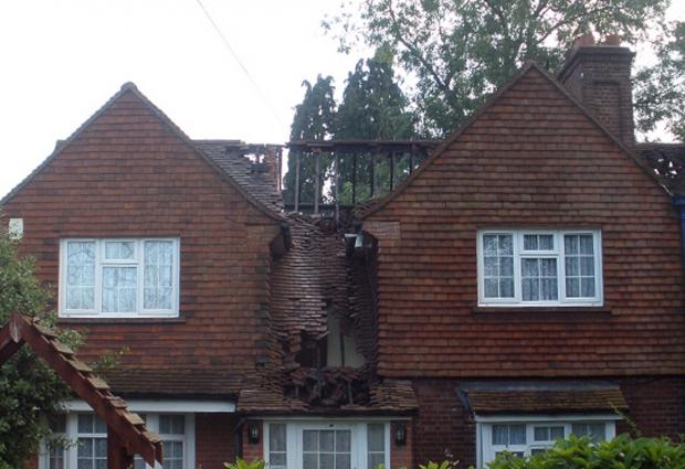 Bucks Free Press: The damaged houses pictured after the fire