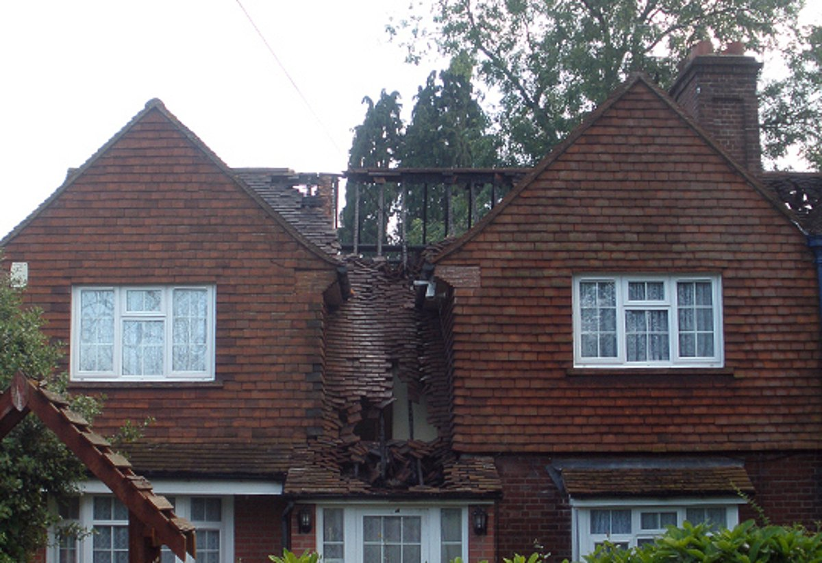 The damaged houses pictured after the fire