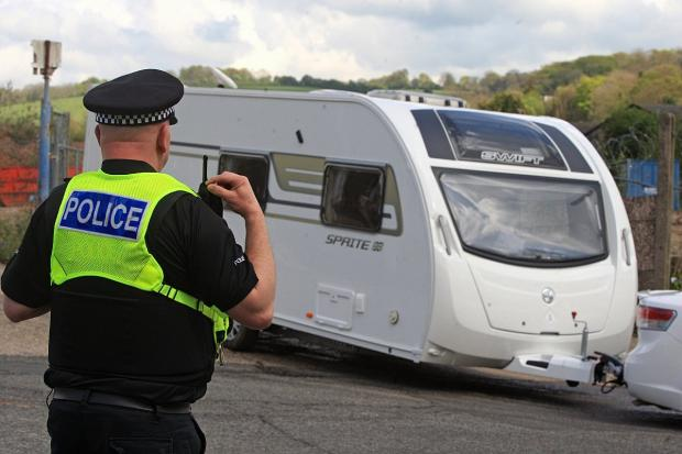 Police were on hand to evict travellers from Wycombe in April