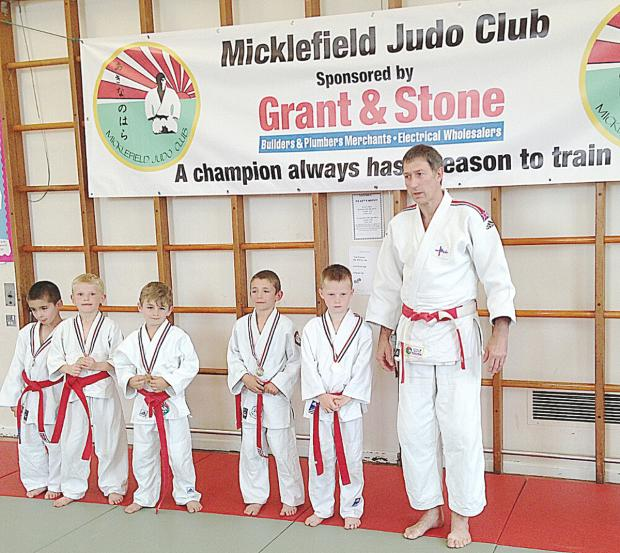 Dylan Stone, Tom Hale of  Stokenchurch Judo Club, Jesse Chraniuk of Micklefield, High Wycombe's Daniel Grilli and Bobby Pusey, also of Micklefield, received their medals from Paul Horseman.