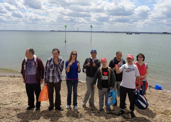 Members from Gateway enjoying a recent day out at the beach in Southend