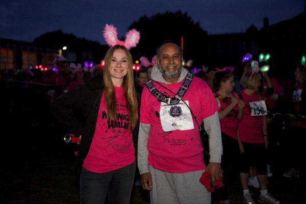 Mohammad Fayyaz with Holby City actress Rosie Marcel at the start of the Midnight Walk