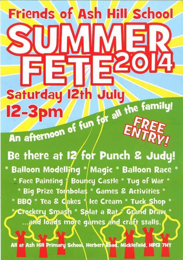 Summer fete to be held at Ash Hill School