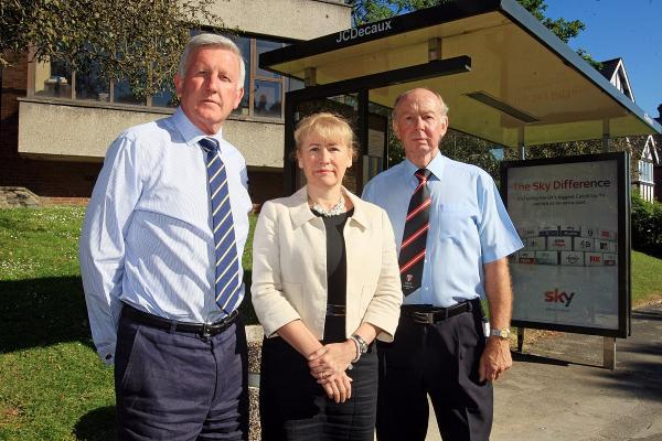 Stephen Noakes (left) with Wycombe High's headteacher Sharon Cromie and RGS headmaster Roy Page