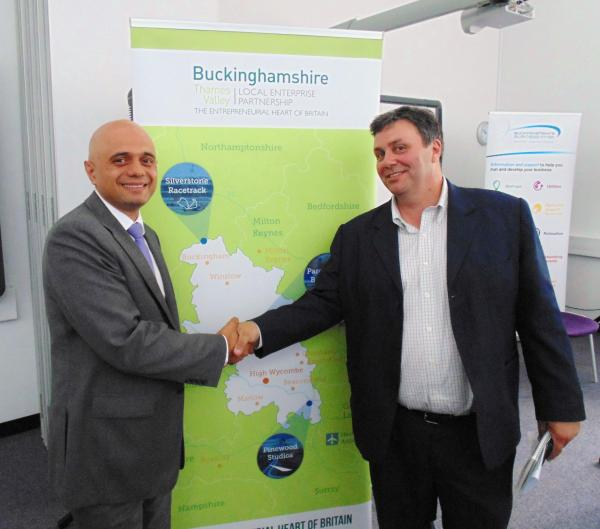 Culture secretary Sajid Javid with Alex Pratt, chairman of BTVLEP
